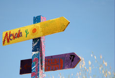 Direction signs in a childrens playground Stock Images