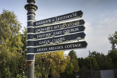 Direction signs at Cromarty in Scotland. Royalty Free Stock Photography