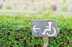 Direction signs for disabled. Royalty Free Stock Photos
