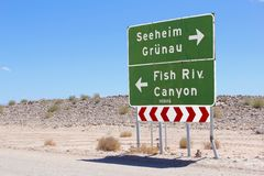 Direction signs Fish River Canyon, Namibia Royalty Free Stock Photography