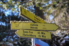 Direction signs - Hiking in the Alps Stock Photos