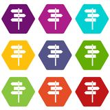 Direction signs icon set color hexahedron Royalty Free Stock Photo