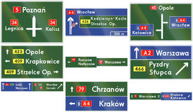 Direction Signs In Poland Royalty Free Stock Photos