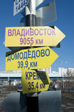 Direction signs on the pole. Decorative direction signs at the city pillar Royalty Free Stock Photos