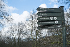 Direction signs post in Hyde Park. LONDON, UK - MARCH 14: Direction signs post in Hyde Park. March 01, 2014 in London Royalty Free Stock Image