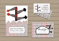 Direction signs set collection. Direction signs. Set collection of invitation card, thank you note, business card from Wonderland. Printable Vector Illustration Royalty Free Stock Photography