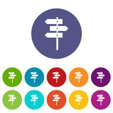 Direction signs set icons Royalty Free Stock Images