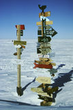 Direction Signs at the South Pole Stock Photo