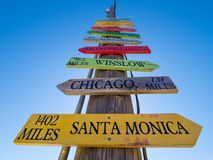 Direction signs to famous cities at Route 66. USA 2017 Stock Photos