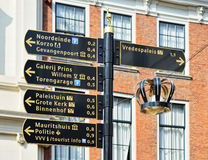 Direction signs for tourists in historical centre of Hague Royalty Free Stock Photos