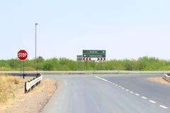 Direction signs Windhoek Keetmanshoop highway, Namibia Royalty Free Stock Photography