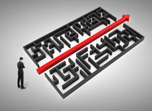 Direction and solution concept. Thinking businessman standing in front of labyrinth with red arrow. Direction and solution concept. 3D Rendering Stock Image