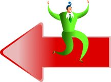 Direction success. Happy business man sitting on a giant arrow - concept illustration Stock Photos