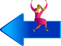Direction success. Happy ethnic woman sitting on giant arrow symbol - concept illustration Royalty Free Stock Photo