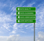 Direction to data quality Stock Photos