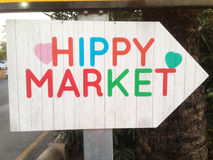 Direction to the hippy market Stock Photos