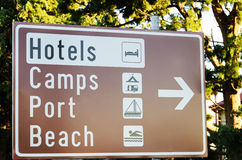 Direction to hotels, camps, port and beach on a seaside Royalty Free Stock Image