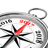 Direction to New 2017 Year Conceptual Compass Closeup. 3d Render. Direction to New 2017 Year Conceptual Compass Closeup on a white background. 3d Rendering Royalty Free Stock Photography