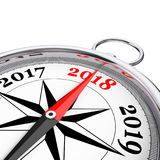 Direction to New 2018 Year Conceptual Compass Closeup. 3d Render. Direction to New 2018 Year Conceptual Compass Closeup on a white background. 3d Rendering vector illustration