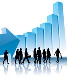 Direction to success. People are going to a large graph, conceptual business illustration Stock Photography