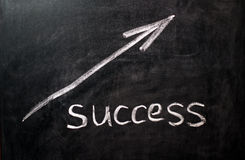 Direction to success on a black chalkboard Stock Image