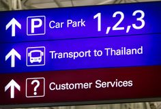 The direction transport to Thailand. Board shows the direction transport to Thailand Stock Photography
