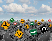 Direction Uncertainty. With a landscape of confused tangled roads and highways and a group of traffic signs competing for influence as a symbol of the Stock Photography