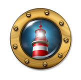 Direction Warning Symbol. With a nautical porthole ship window looking at a glowing light from a lighthouse on a foggy night as a concept of journey and Stock Photography