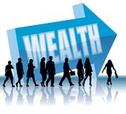 Direction - Wealth. People are going to a direction - Wealth vector illustration