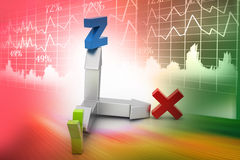 Direction of x,y and z axis Stock Image