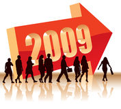 Direction - Year 2009. People are going to a new direction - Year 2009 Stock Photos