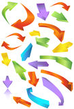 Directional Arrow Icons. Colorful mix of 3D arrows going in many directions Stock Photo