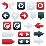 Directional Arrow Icons in Black, Red & White. Glossy directional arrow buttons in sleek black, shiny red and smooth white;  file contains blends Stock Images