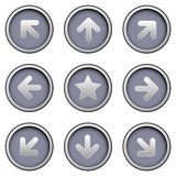 Directional arrow icons on modern vector buttons. Directional arrow icon set on modern sleek vector buttons - navigation elements for websites or desktop Stock Images