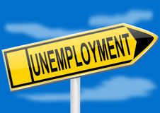Directional arrow with the inscription unemployment Royalty Free Stock Image