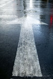 Wet Street Arrow Forward Royalty Free Stock Images