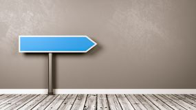 Directional Arrow Road Sign in the Room with Copy Space stock illustration