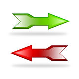 Directional arrows. Glossy red and green directional arrows isolated on white background Stock Images