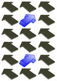 Directional Arrows. Page full of black 3D arrows and 2 blue arrows pointing in a different direction Royalty Free Stock Photo