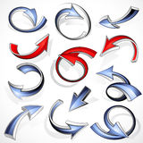 Directional arrows. Set of curling three dimensional blue and red arrows, isolated on white background Stock Photo