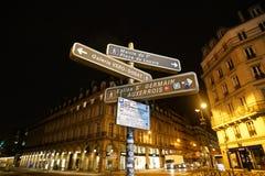 Directional arrows at the corner of Rue de Rivoli and Rue du Pont Neuf, Paris. Paris,France-January 26, 2018: Directional arrows at the corner of Rue de Rivoli stock photo
