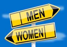 Directional arrows men women Stock Photos