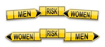 Directional arrows men, women and risk Stock Photos