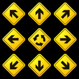 Directional Arrows Yellow Signs 02 Stock Photography