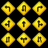 Directional Arrows Yellow Signs 01 Royalty Free Stock Photos