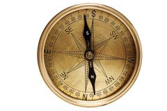 Directional compass. Isolated directional compass on white royalty free stock photos