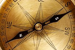 Directional compass. Close up of a vintage navigational compass stock photos