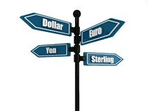 Directional currency sign Royalty Free Stock Images