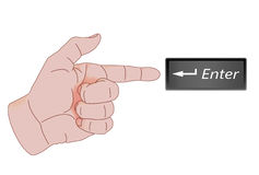 Directional Finger Showing Enter Key Stock Photography