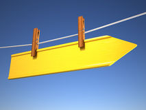 Directional sign. Clothespin on rope holding a directional sign - 3d render illustration Stock Photography